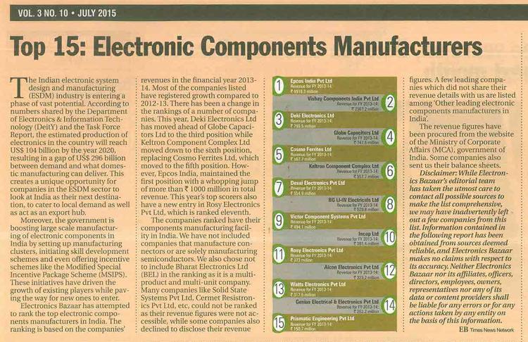 Deki ranked 3rd largest component manufacturer